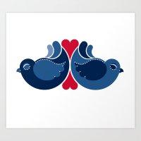 Blue Lovebirds Art Print
