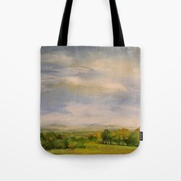 Scenic Autumn Late Afternoon in Vermont Nature Art Landscape Oil Painting Tote Bag