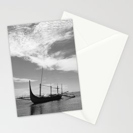 Black and white asian seascape Stationery Cards
