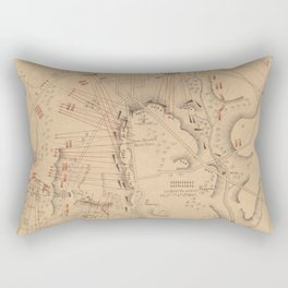 Vintage Map of The Battle of Gettysburg (1864) Rectangular Pillow