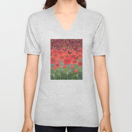 red sky, butterflies, poppies, & snails Unisex V-Neck