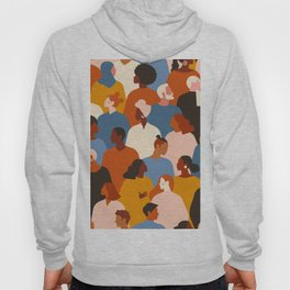 Diverse group of stylish people standing together. Hoody