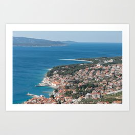 Bol Town Croatia from Above Blue Adriatic Sea Photograph Croatian Islands Brac Art Print
