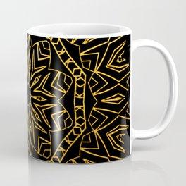 256 14 2 Gold Mandala on Black Coffee Mug