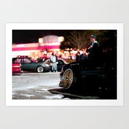 Car meet in the snow Art Print