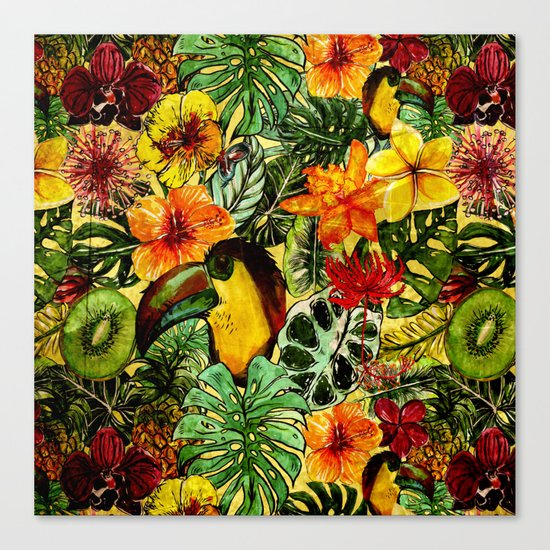 Tropical Vintage Exotic Jungle Flower Flowers - Floral watercolor pattern on #Society6 Canvas Print