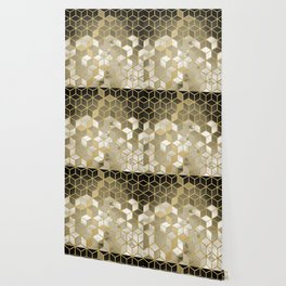 Shades Of Gold Cubes Pattern Wallpaper