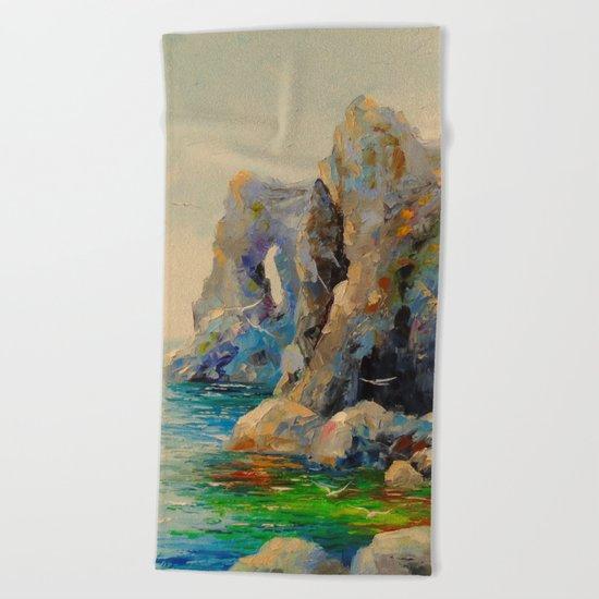 Rocks on the beach Beach Towel