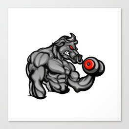 a strong angry bull with a barbell Canvas Print