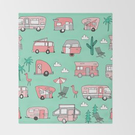 Camper summer vacation tropical pattern RV van life print by andrea lauren Throw Blanket