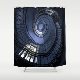 Blue spiral staircase Shower Curtain