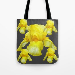 YELLOW SPRING IRIS  BOTANICALS ON GREY Tote Bag