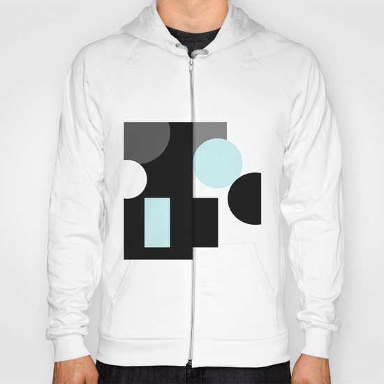 An abstract geometric pattern . Geometric shapes . Black sky blue white pattern . Hoody