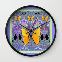 Pastel Lilac yellow butterflies Art Nouveau Design Wall Clock