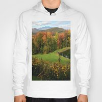 vermont Hoodies featuring Warren Vermont Foliage by Vermont Greetings