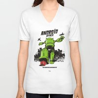 android V-neck T-shirts featuring ANDROID ATTACK by Adams Pinto