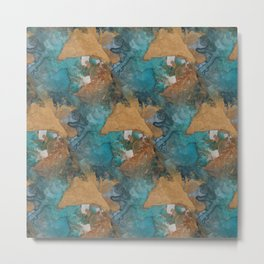 Gold Triangles on Teal Metal Print