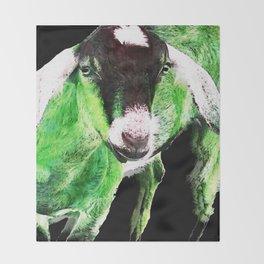 Goat Pop Art - Green - Sharon Cummings Throw Blanket