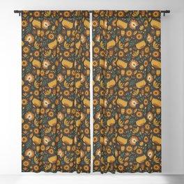 Autumn Folk Art Florals Blackout Curtain