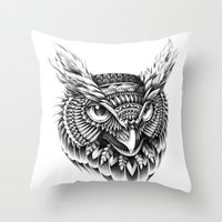 ornate Throw Pillows featuring Ornate Owl Head by BIOWORKZ