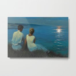 Alone & Together (Romantic Moonlight On the Cliffs Above the Beach and Ocean) by Agnes Slott-Møller Metal Print