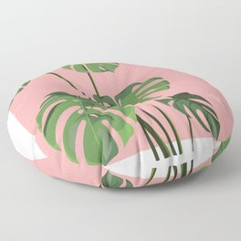 Monstera in Pink Floor Pillow