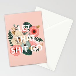 LET THAT SHIT GO - Sweary Floral (peach) Stationery Cards