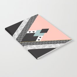 Abstract composition of textures with geometric shapes Notebook