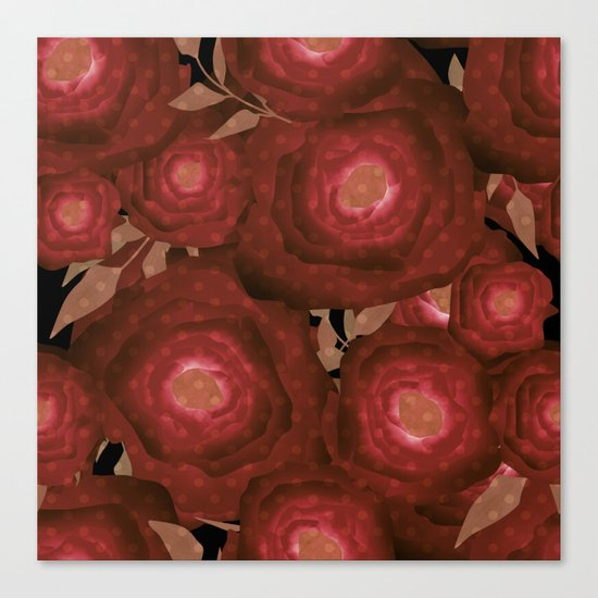 Retro decor. Red flowers . Canvas Print