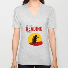 Cats and reading forever  Unisex V-Neck