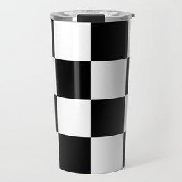 Large Checkered - White and Black Travel Mug