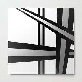 Bold Metallic Beams - Minimalistic, abstract black and white artwork Metal Print