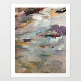 Gentle Beauty [3] - an elegant acrylic piece in deep purple, red, gold, and white Art Print