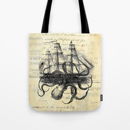 Kraken Octopus Attacking Ship Multi Collage Background Tote Bag