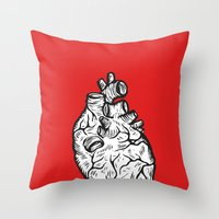 anatomical heart Throw Pillows featuring Anatomical Heart by Horse and Hare