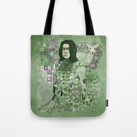 snape Tote Bags featuring Portrait of a Potions Master by Karen Hallion Illustrations