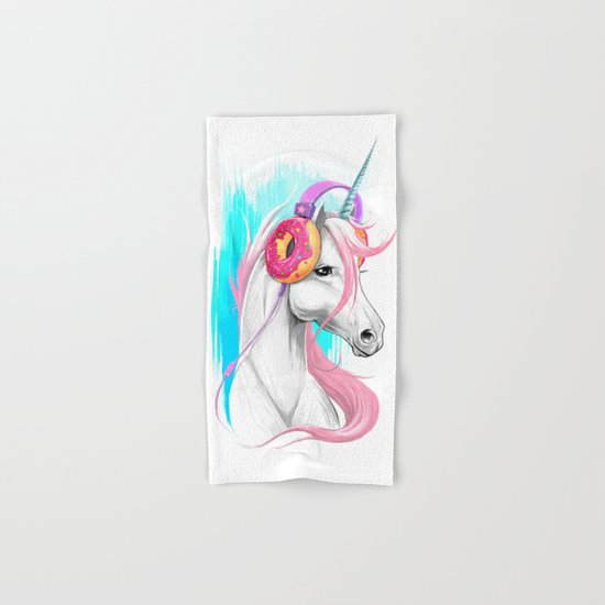 Unicorn in the headphones of donuts Hand & Bath Towel