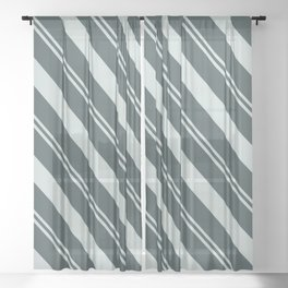 Cave Pearl Light Mint Green PPG1145-3 Thick and Thin Angled Stripes on Night Watch PPG1145-7 Sheer Curtain