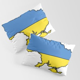 Ukraine Map with Ukrainian Flag Pillow Sham