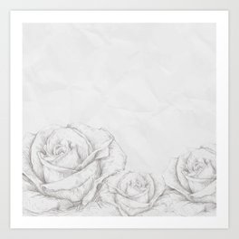 Vintage Roses Floral Grey Decorative Art Print