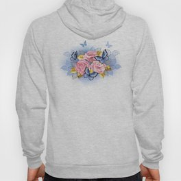 Three Pink Roses with Butterflies Hoody