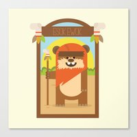 ewok Canvas Prints featuring Esok Ewok by Gary  Ralphs Illustrations