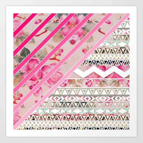 Girly Pink Stripes Floral Abstract Aztec Pattern Art Print