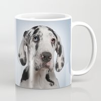great dane Mugs featuring Great dane by Life on White Creative