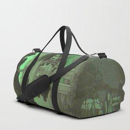 Kawase Hasui Vintage Japanese Woodblock Print Glowing Green Neon Sky Over A Zen Garden Shrine Duffle Bag