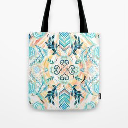 Abstract Painted Boho Pattern in Cyan & Teal Tote Bag