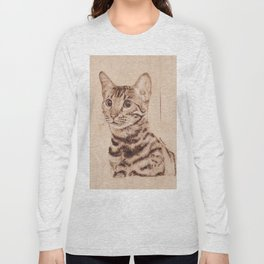 Bengal Cat Portrait - Drawing by Burning on Wood - Pyrography art Long Sleeve T-shirt