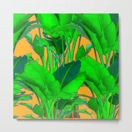 BRIGHT GREEN & GOLD TROPICAL FOLIAGE ART Metal Print