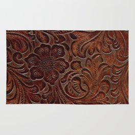 Burnished Rich Brown Tooled Leather Rug