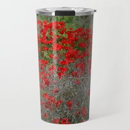 Beautiful Red Wild Anemone Flowers In A Spring Field  Travel Mug